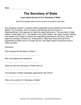 Government Secretary State Comprehension