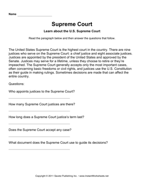 Government Supreme Court Comprehension