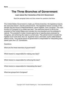 Government Three Branches Comprehension
