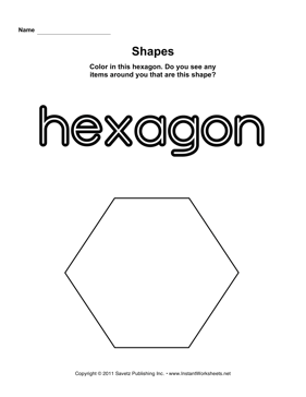 Printables Hexagon Worksheet hexagon shape instant worksheets