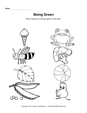 The Color Green: Learning About Color | Worksheet | Education.com