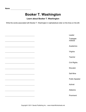Important African Americans Alphabetize Booker T Washington