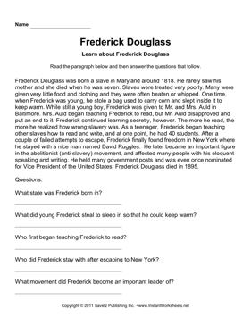 Important African Americans Comprehension Frederick Douglass