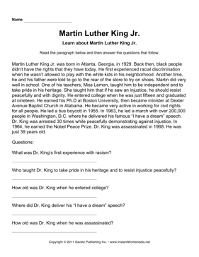 Number Names Worksheets martin luther king worksheets free : Important African Americans Comprehension Martin Luther King ...