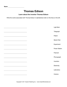 Important Inventors Alphabetize Thomas Edison