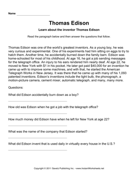 Important Inventors Comprehension Edison