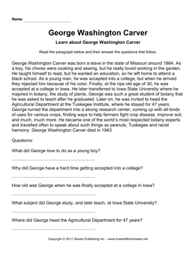 Important Scientists Comprehension George Washington Carver
