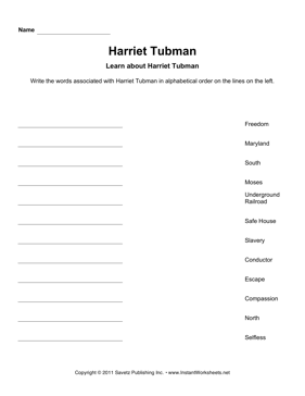 Important Women Alphabetize Harriet Tubman