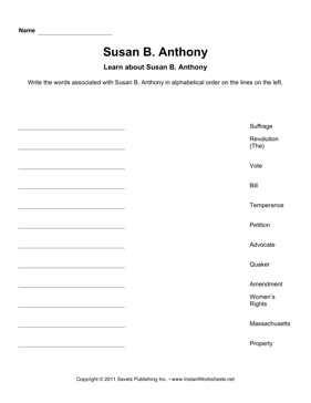 Important Women Alphabetize Susan B Anthony