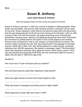 Important Women Comprehension Susan B Anthony