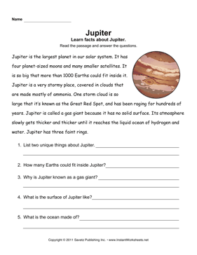 Jupiter Comprehension — Instant Worksheets