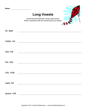 Long Vowels Phonics