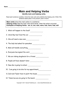 Main Helping Verbs — Instant Worksheets