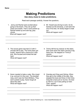 Making Predictions — Instant Worksheets