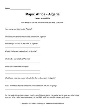 Maps Africa Algeria Facts