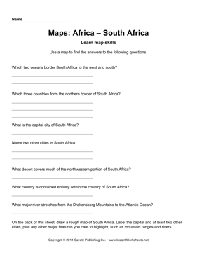 Maps Africa South Africa Facts