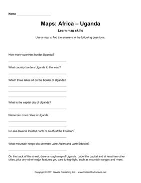 Maps Africa Uganda Facts
