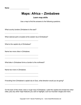 Maps Africa Zimbabwe Facts