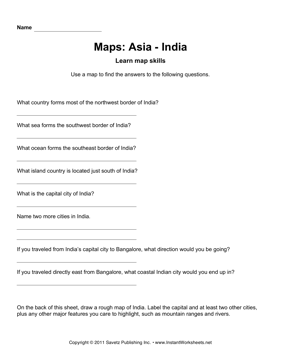 Maps Asia India Facts