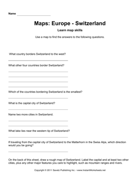 Maps Europe Switzerland Facts