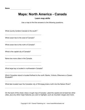 Maps North America Canada Facts