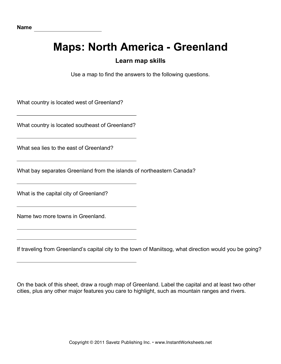 Maps North America Greenland Facts