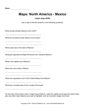 Maps North America Mexico Facts
