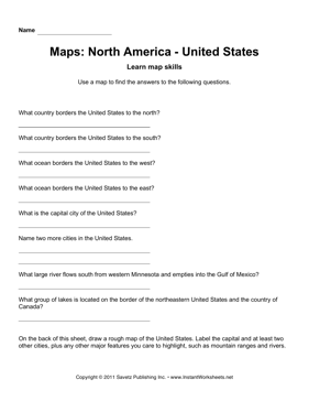 Maps North America United States Facts