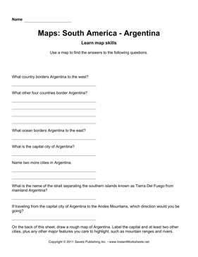 Maps South America Argentina Facts