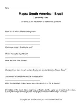 Maps South America Brazil Facts