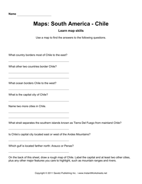Maps South America Chile Facts