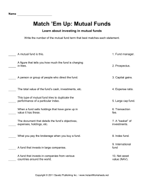 Match Em Up Mutual Funds