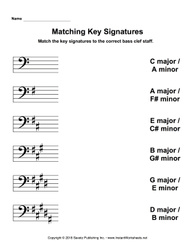 Matching Key Signatures Bass Clef