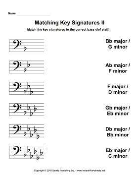 Matching Key Signatures Bass Clef II