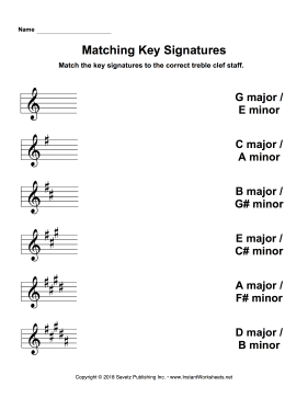 Matching Key Signatures Treble Clef
