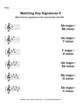 Matching Key Signatures Treble Clef II