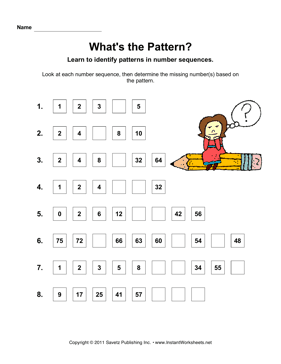 Math Patterns — Instant Worksheets