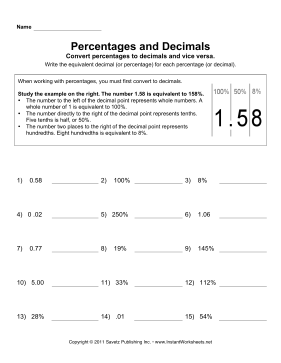 Math Percentages Decimals