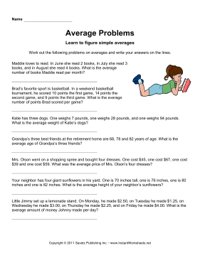 Math Word Problems Averages