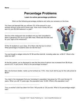 Math Word Problems Percentages