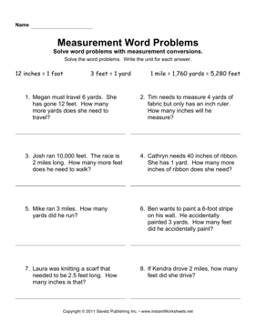 Measurement Word Problems