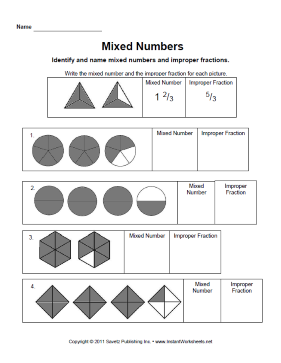 mixed numbers a site where educators and parents can download  worksheets for free
