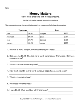 Math Worksheets supermarket math worksheets : Money Word Problems — Instant Worksheets