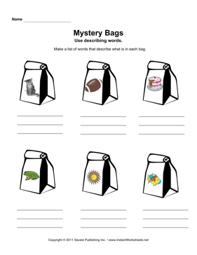 mystery bags describing words. Black Bedroom Furniture Sets. Home Design Ideas