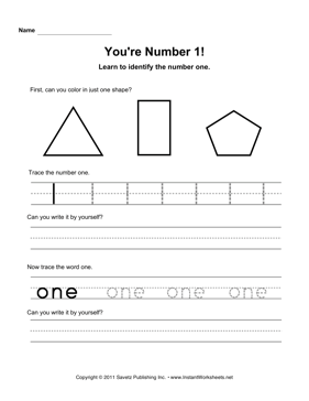 Number 1 Worksheet