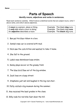 Printables Parts Of Speech Worksheets parts speech instant worksheets