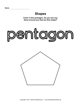 Pentagon Shape — Instant Worksheets