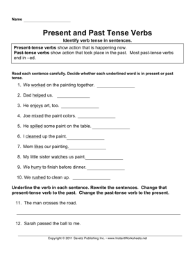 Present Past Tense Verbs — Instant Worksheets