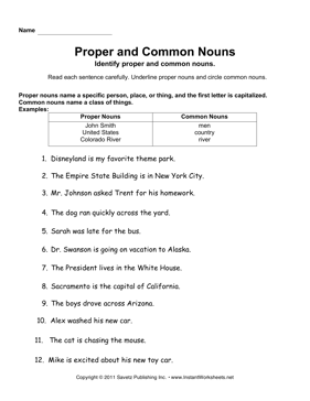 Common and Proper Nouns | 1st Grade Noun Worksheet
