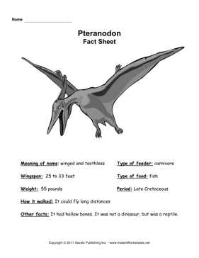 Pteranodon Fact Sheet